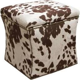 "You just Google ""animal print ottoman"" and see whatcha get. They double for storage! I think cow hide print is chic. I sit on mine while I do hair and makeup in the mirror."